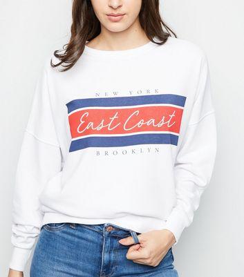 """Weißes Sweatshirt mit """"East Coast"""" Slogan Für später speichern Von gespeicherten Artikeln entfernen"""