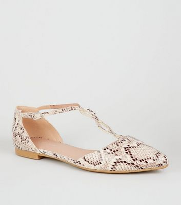 Camel Faux Snake Twist T-Bar Strap Pumps