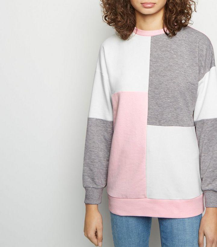 f3b92fadfc03 Pink Patchwork Colour Block Sweatshirt
