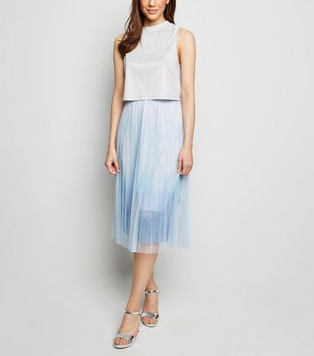 Pale Blue Ombré Pleated Midi Skirt