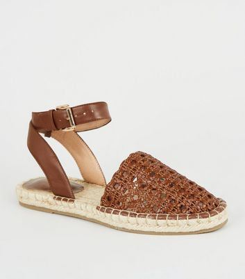 Rust Leather-Look Woven Espadrilles