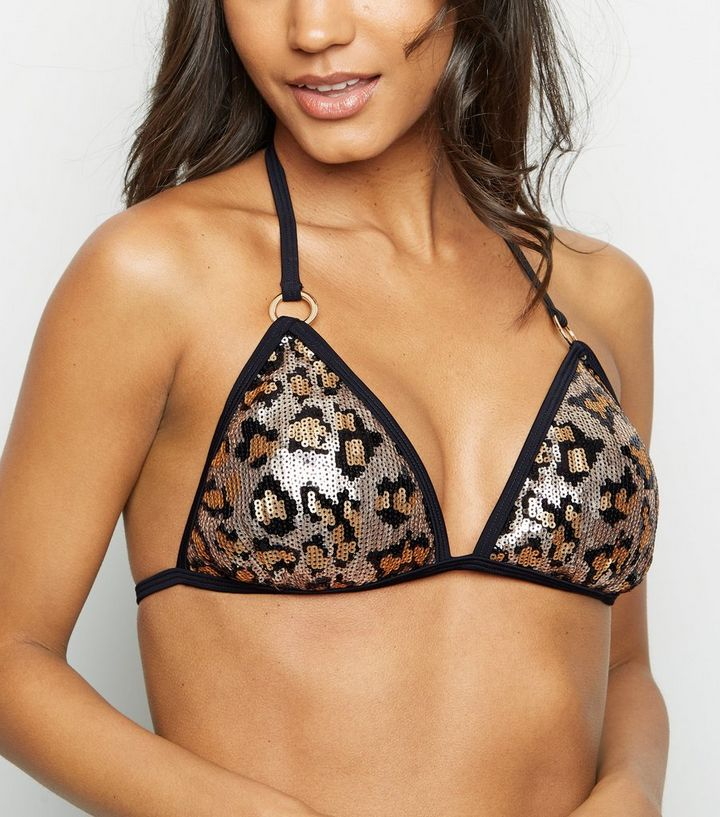 b8b70da0a9375 Black Leopard Print Sequin Triangle Bikini Top