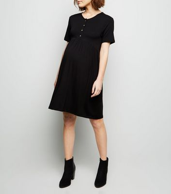Maternity Black Button Front Nursing Smock Dress