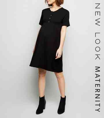 d0e3f820075de Maternity Black Button Front Nursing Smock Dress ...