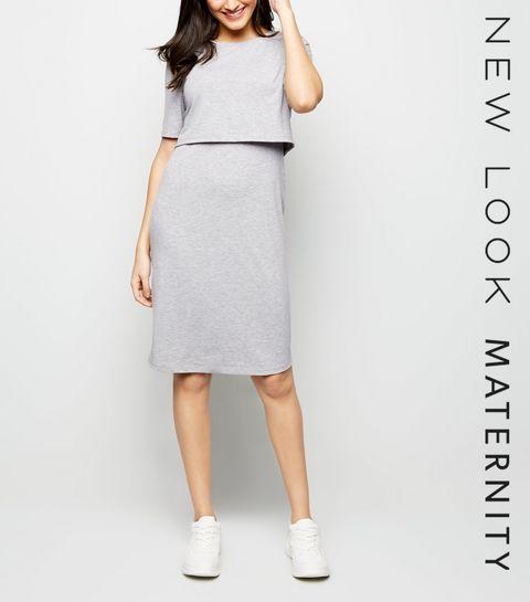 44ba21704bb Maternity Grey Nursing Midi Dress · Maternity Grey Nursing Midi Dress ...