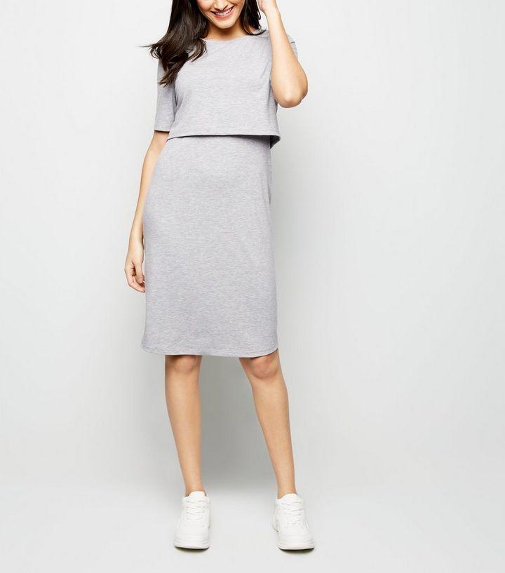 c41ea8e16b511 Maternity Grey Nursing Midi Dress   New Look