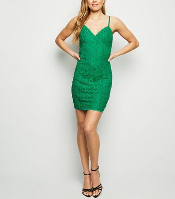 Green Lace Strappy Bodycon Dress