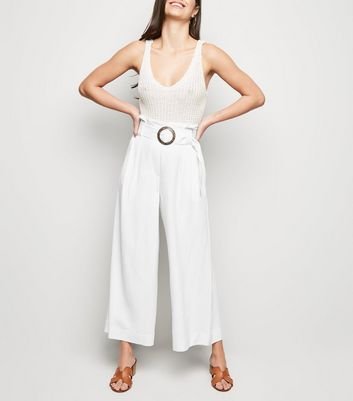 White Linen Look Crop Trousers