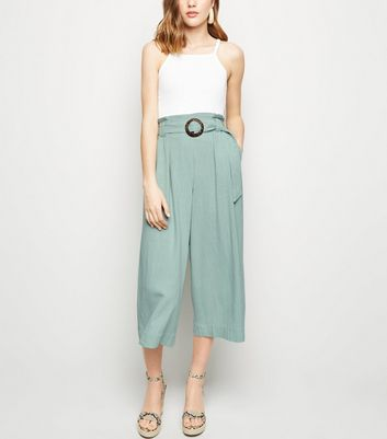 Light Green Linen Look Crop Trousers
