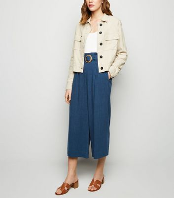 Navy Linen Look Crop Trousers