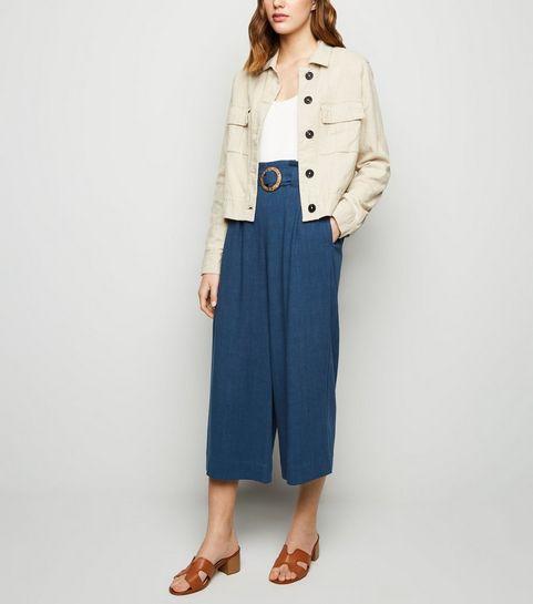 15080c2fd1 ... Navy Linen Look Crop Trousers ...