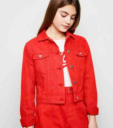 Girls - Veste rouge en jean