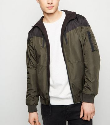 Black and Khaki Colour Block Reversible Bomber Jacket