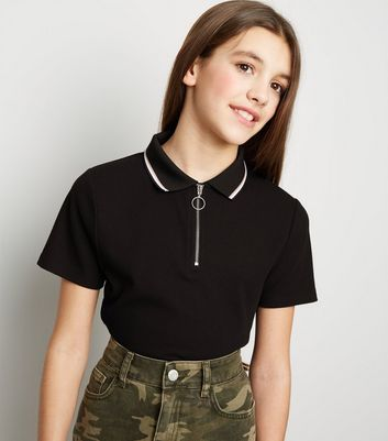 Girls Black Ribbed Zip Polo Neck Shirt