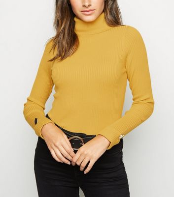 Mustard Ribbed Button Cuff Roll Neck Jumper