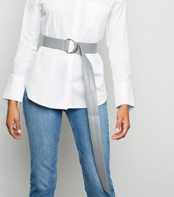 Grey Leather-Look D-Ring Wrap Belt