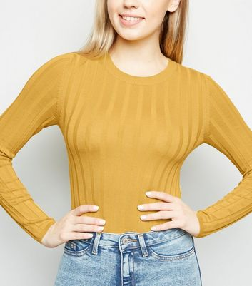 Mustard Ribbed Crew Neck Jumper