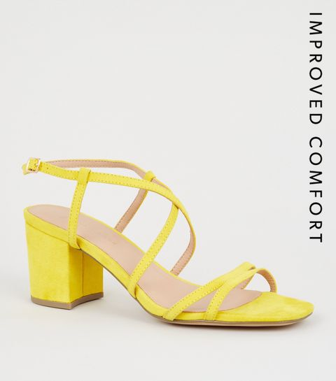 7060f533bd1484 ... Wide Fit Yellow Suedette Strappy Heel Sandals ...