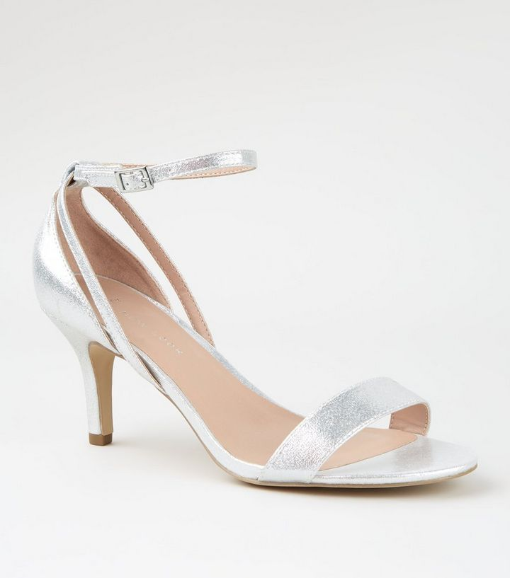 get online casual shoes hot sales Wide Fit Silver Low Heel Sandals | New Look