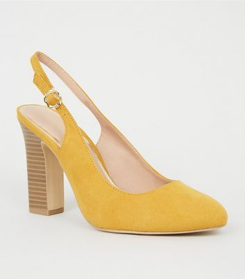 Wide Fit Mustard Wood Heel Slingbacks