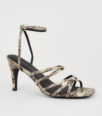 Wide Fit Stone Faux Snake Strappy Kitten Heels