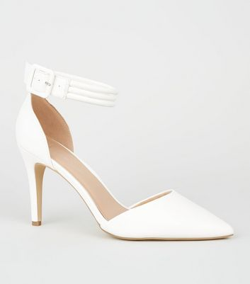 Wide Fit White Leather-Look 2 Part Heels