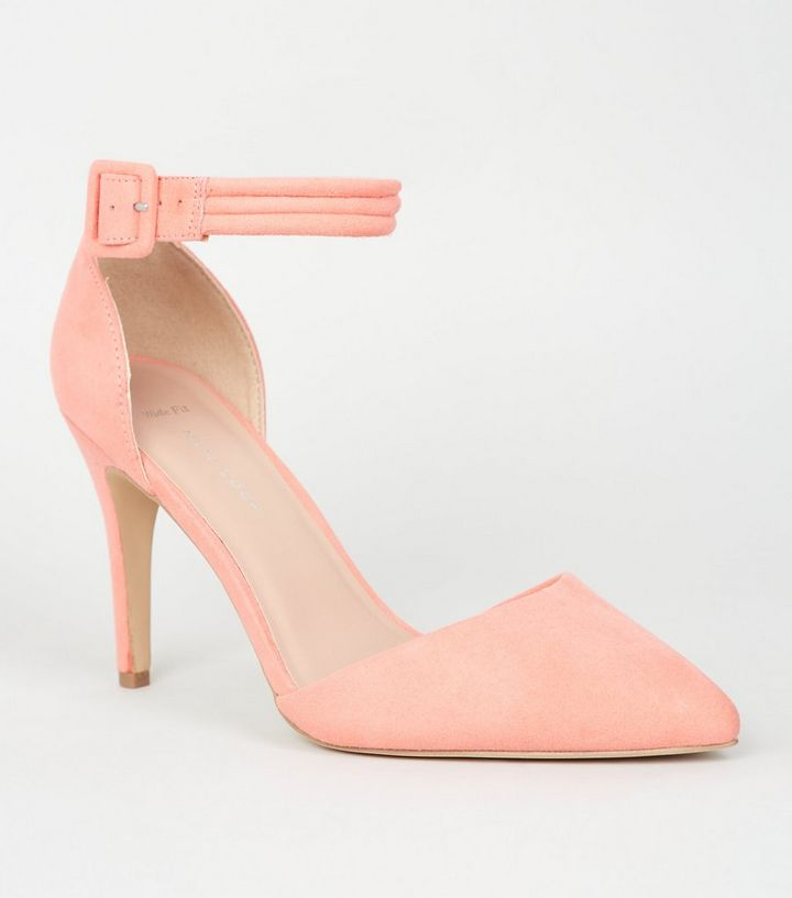 lower price with online store best value Wide Fit Coral Pointed Heel Court Shoes Add to Saved Items Remove from  Saved Items