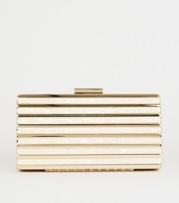 Gold Mother of Pearl Effect Slatted Clutch