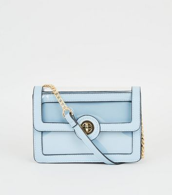 Pale Blue and Clear Cross Body Bag