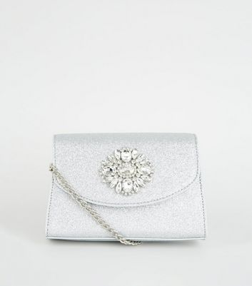 Silver Glitter Brooch Shoulder Bag