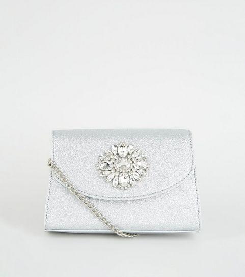 c49859aef4 ... Silver Glitter Brooch Shoulder Bag ...