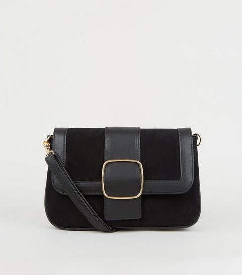 ... Black Suedette and Leather-Look Buckle Shoulder Bag ... d431f07a0e5cd