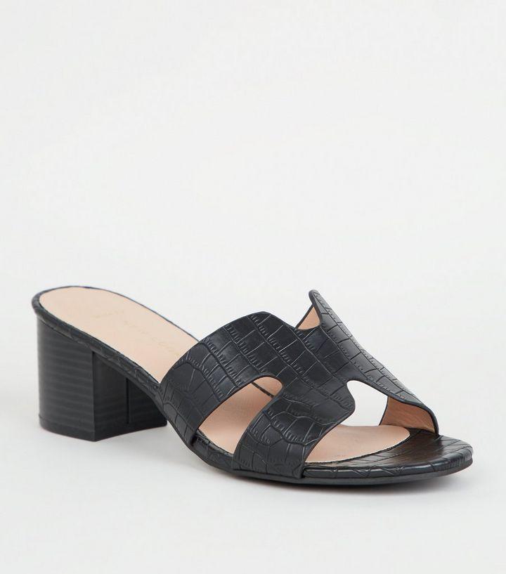 fc0ae8236b8739 Wide Fit Black Faux Croc Block Heel Mules