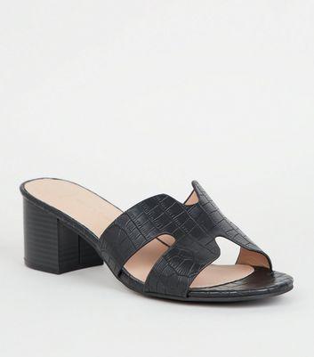 Wide Fit Black Faux Croc Block Heel