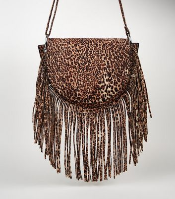 Brown Leopard Print Fringe Cross Body Bag