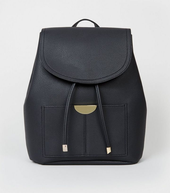 f7cc092ff Black Leather-Look Drawstring Front Backpack | New Look