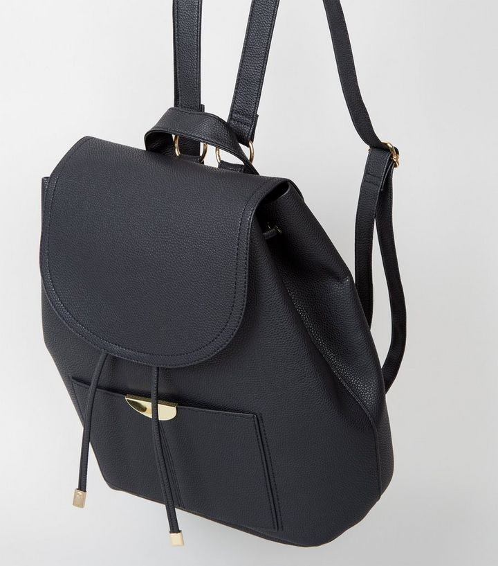 ba2b20792 ... Black Leather-Look Drawstring Front Backpack. ×. ×. ×. Shop the look