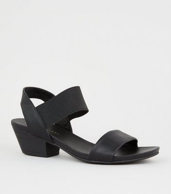 Wide Fit Black Leather-Look Low Heel Sandals