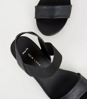 Wide Fit Black Leather-Look Low Heel