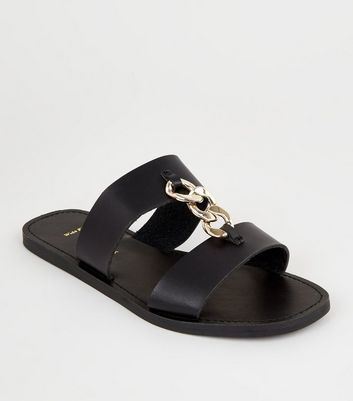 Wide Fit Black Chain Strap Sliders