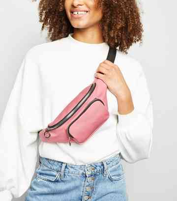 Bright Pink Washed Utility Bum Bag