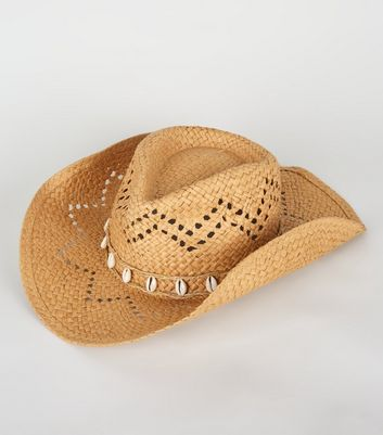 Stone Straw Effect Shell Trim Cowboy Hat