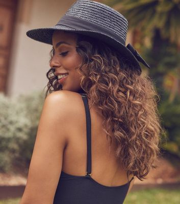 Black Woven Straw Effect Boater Hat