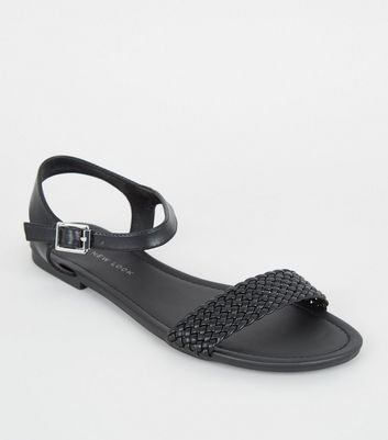Wide Fit Black Woven Strap Flat Sandals