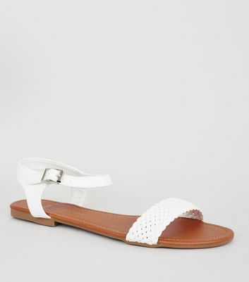 Wide Fit White Woven Strap Flat Sandals