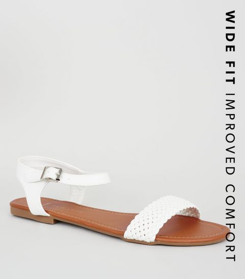 ... Wide Fit White Woven Strap Flat Sandals ... bb2159a0154e