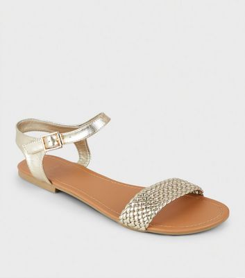 Wide Fit Gold Woven Strap Flat Sandals