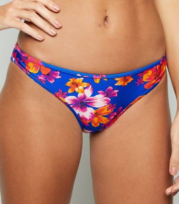 Blue Tropical Floral Hipster Bikini Bottoms