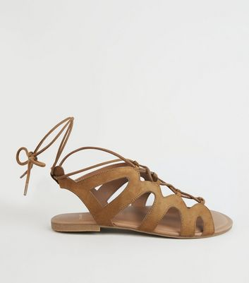 Wide Fit Tan Lace Up Ghillie Sandals