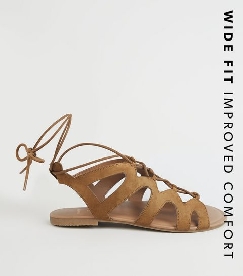 e8e145059 ... Wide Fit Tan Lace Up Ghillie Sandals ...